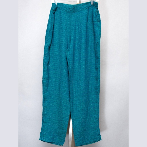 Flax Pants - FLAX pants Small emerald green breathable linen